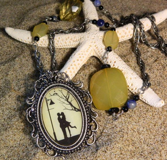 a midnight kiss pendant necklace with yellow and by BeachinJewelry, $15.00
