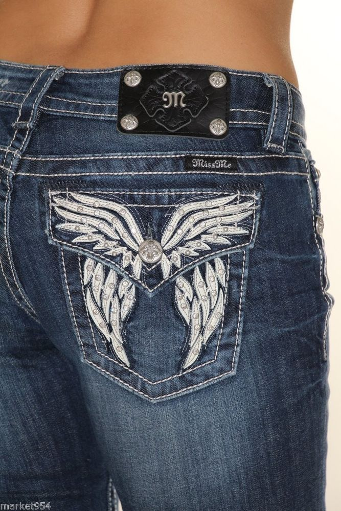 91ea6450748 Spiky Wings Miss Me Jeans White leather Pocket Women's denim JP5936B Dark  blue