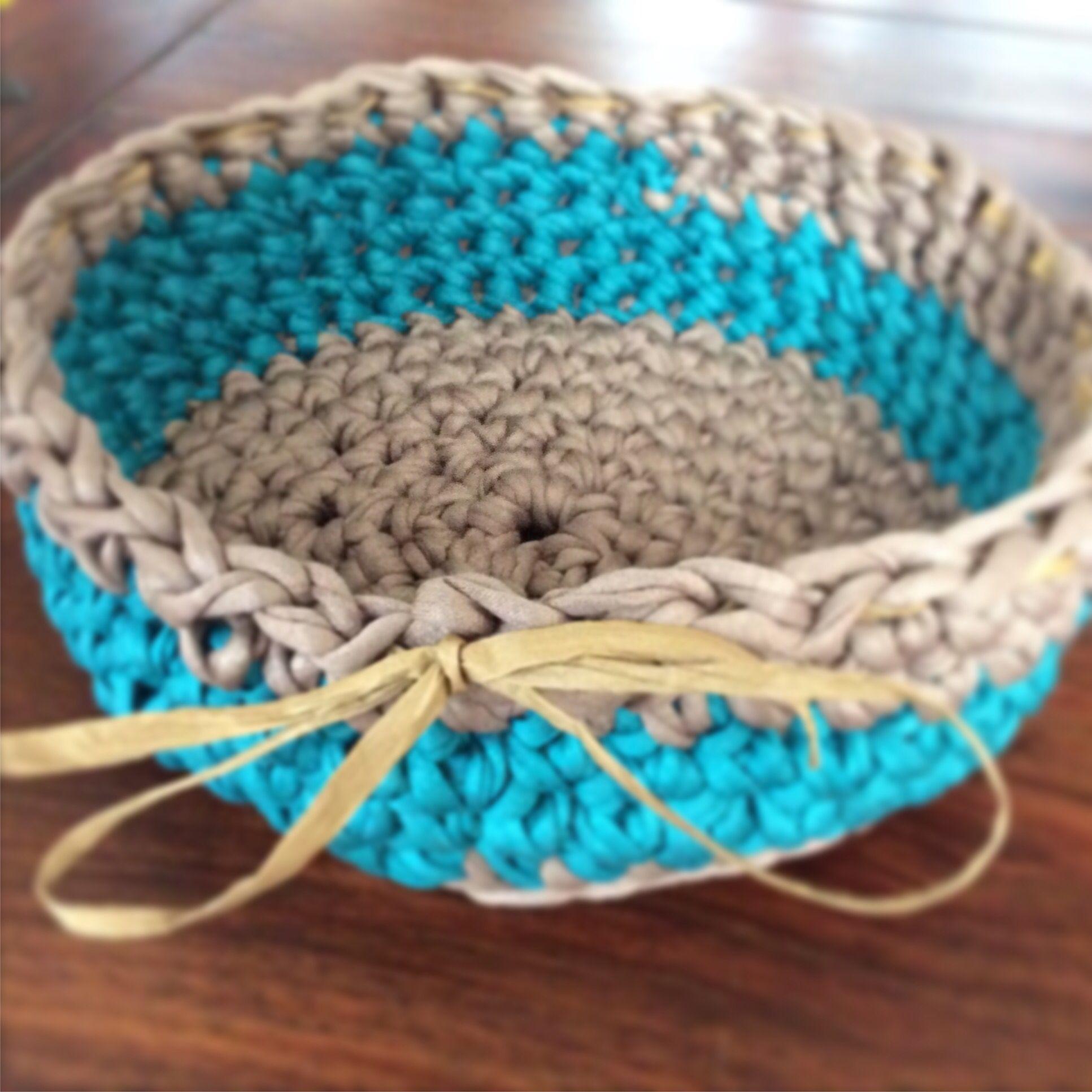 Korb Gehäkelt Aus Textilgarn Astrids Handmade Pinterest Korb