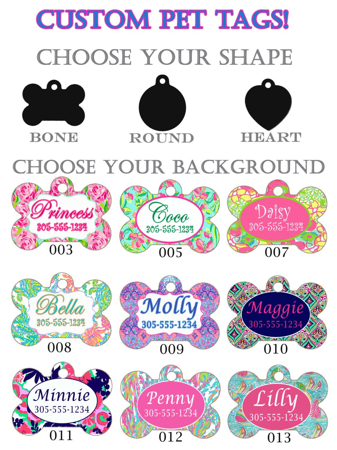 41d379fb6a11 Custom Pet Tags Lilly Pulitzer Inspired. Dog tag, Cat Tag, Customized,  Monogrammed