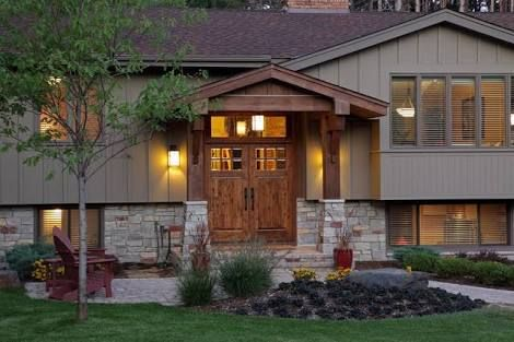 Image Result For Craftsman Portico Split Level Roof Line House Exterior Traditional Exterior Exterior Remodel