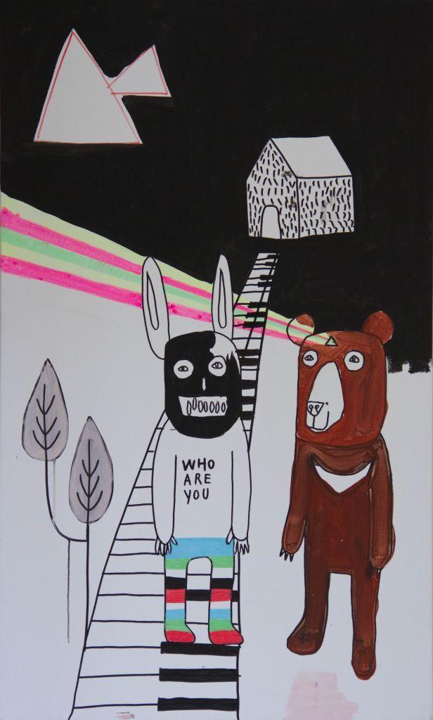 WHO ARE YOU, acrilico + pennarelli, tela, 100x60 (opera in concorso) | Premio Combat