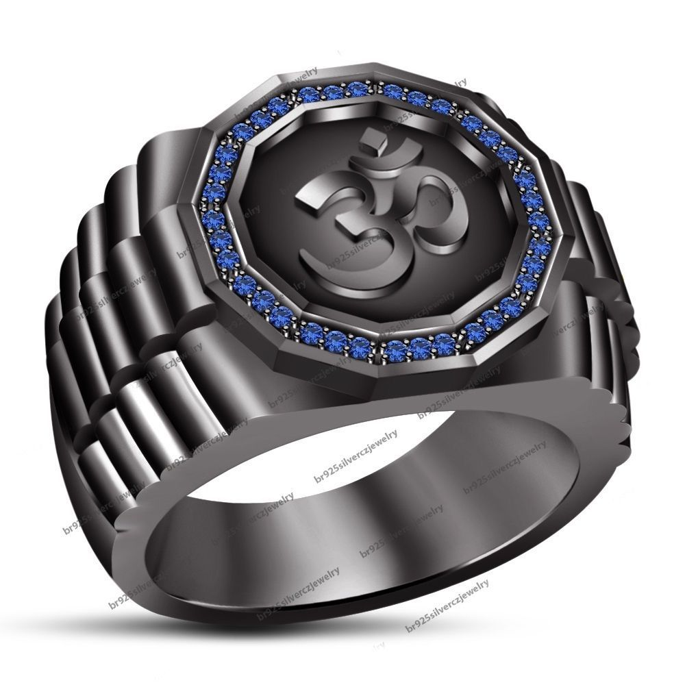 "14k Black Rhodium Plated 925 Sterling Silver Blue Sapphire Men's SPL ""OM"" Ring #OMRing"