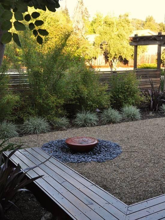 garten zen holz sitzbank kies kleiner brunnen | Garten | Pinterest ...