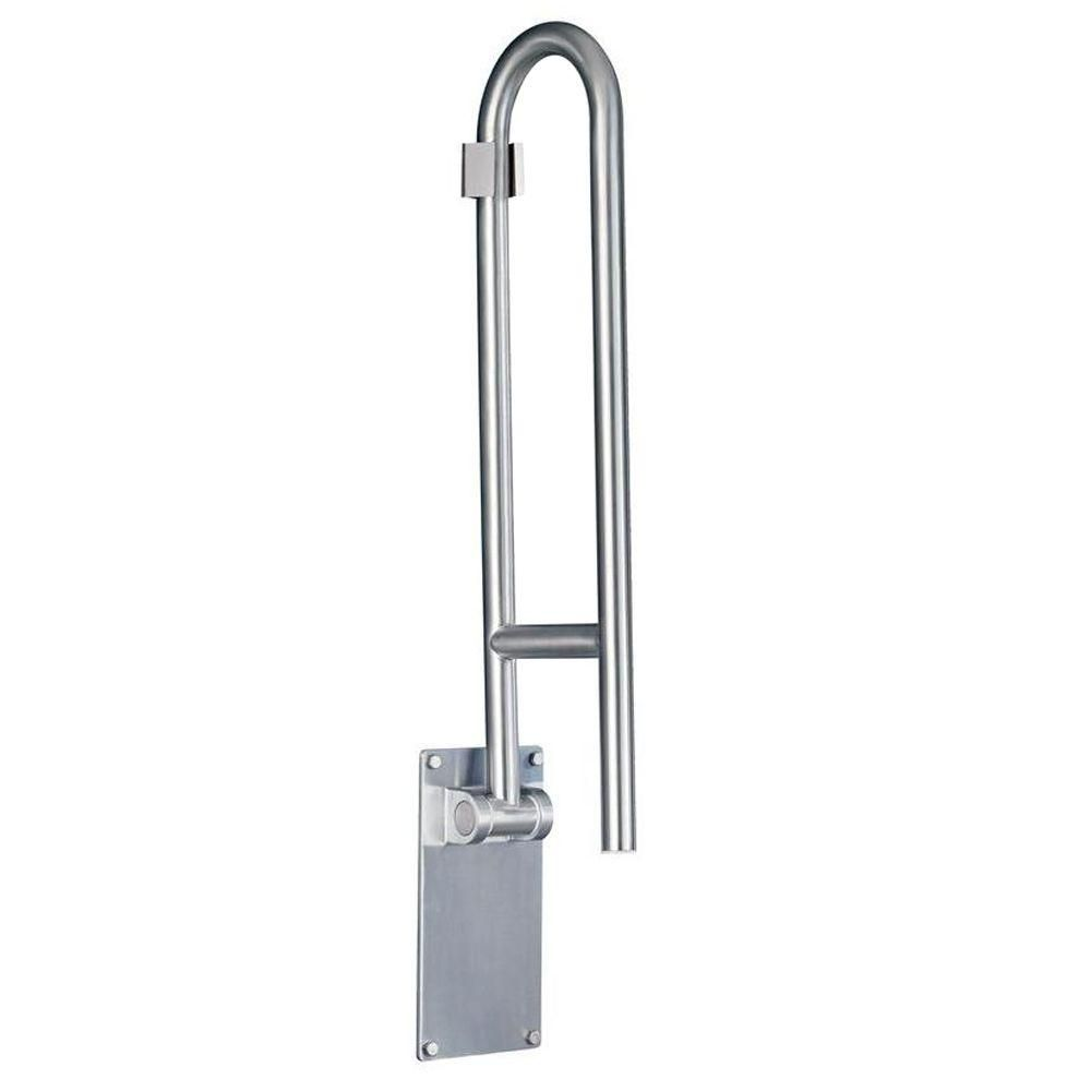 Moen 30 In X 1 1 4 In Flip Up Screw Grab Bar In Peened Stainless Steel Grab Bars Grab Bars In Bathroom Home Depot