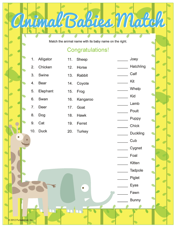 Baby Animal Match Baby Shower Games Atoz Showers Parties