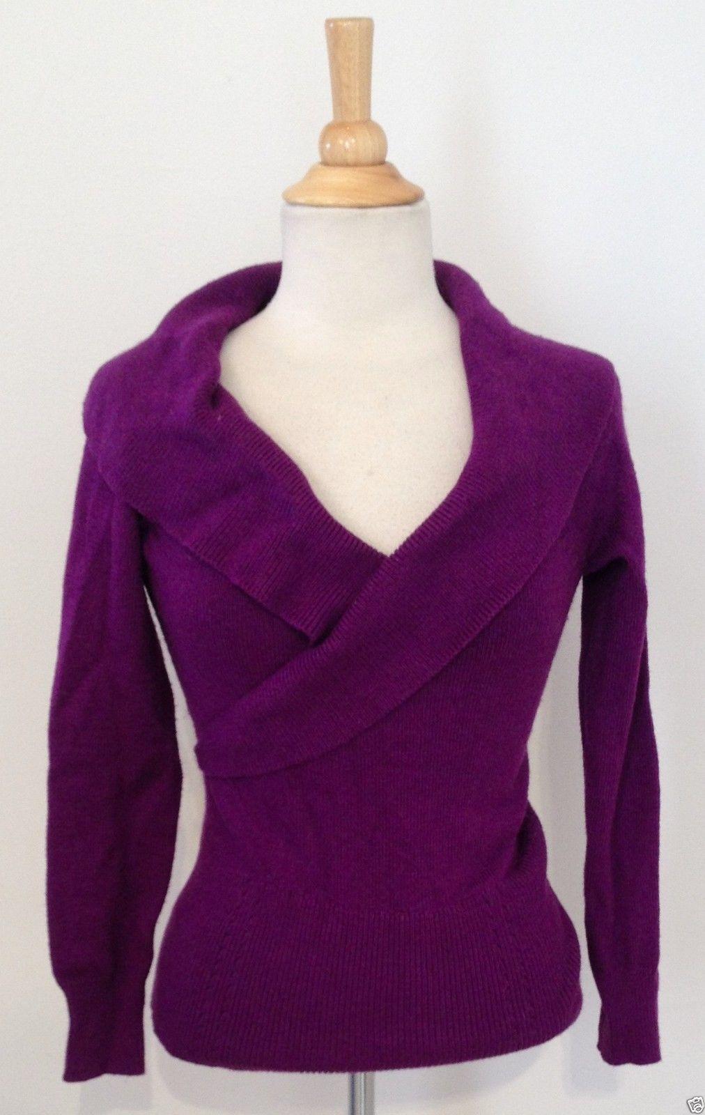 White House Black Market Dark Purple V Neck Long Sleeve Fitted ...
