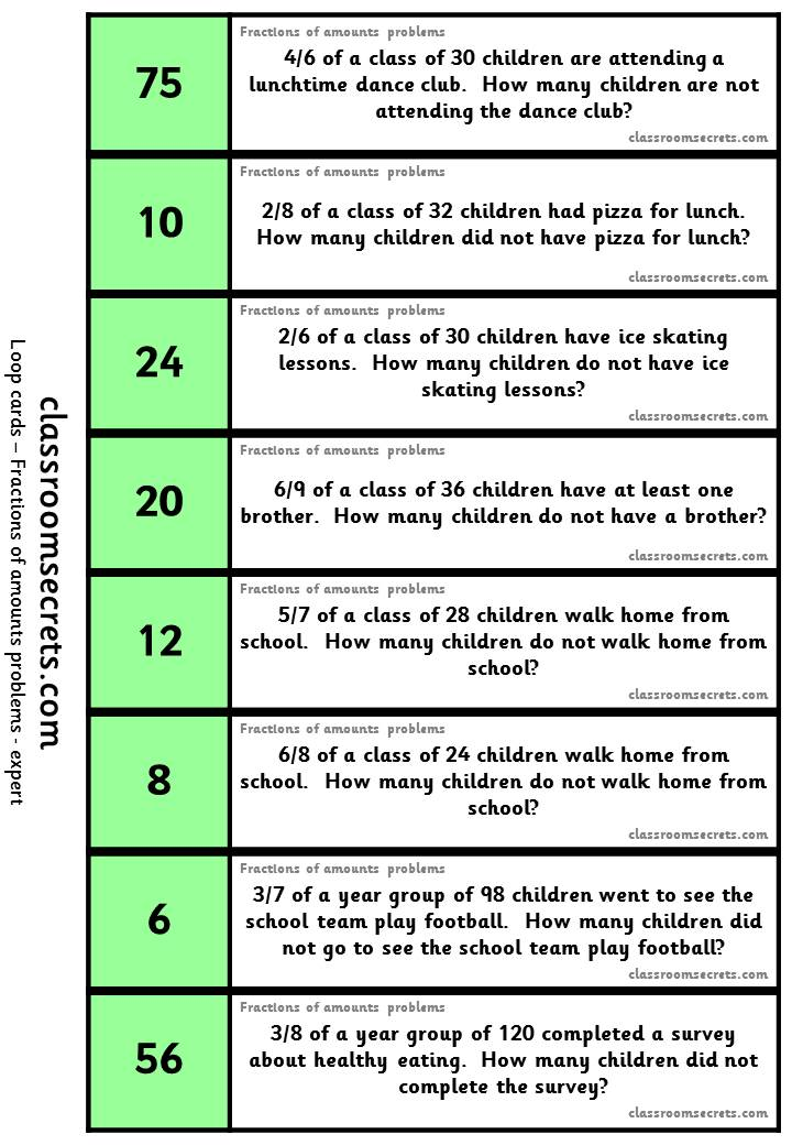 Worksheets And Loop Cards For Fractions Of Amounts Problems Aimed At Key Stages 2 And 3 Differentiated Five Ways Teaching Fractions Fractions Teaching Math