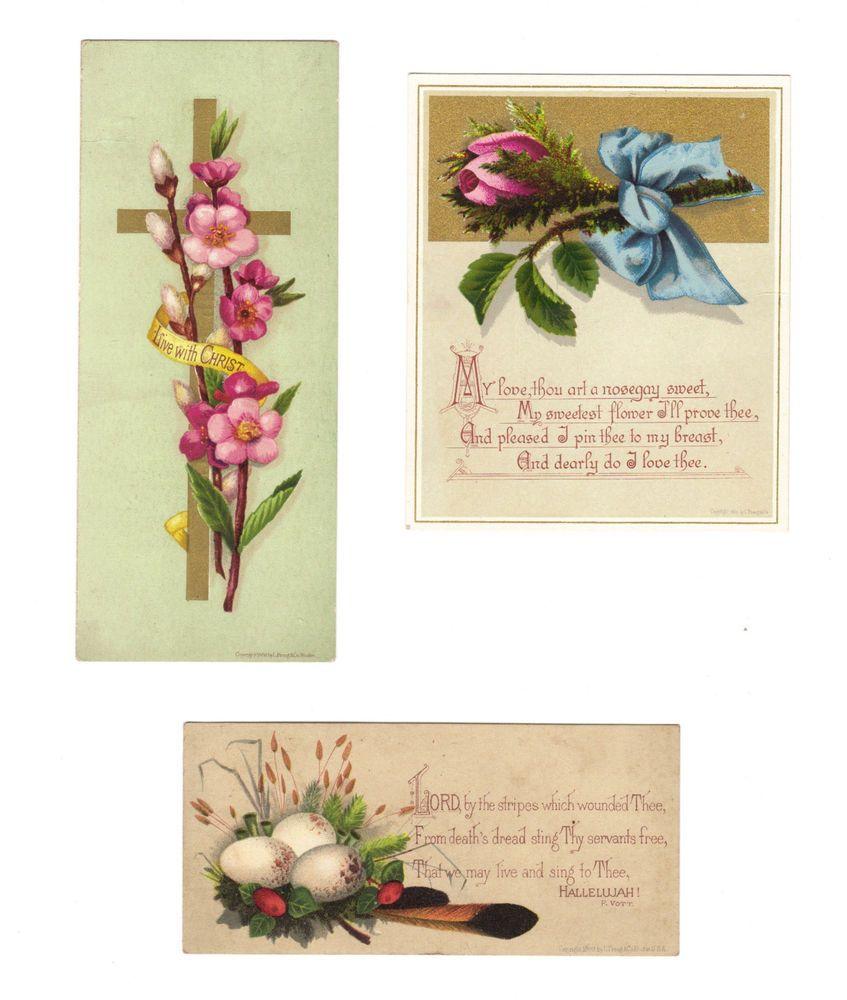 Lot of 3 L. Prang Card- Trade Card/Bookmark Religious