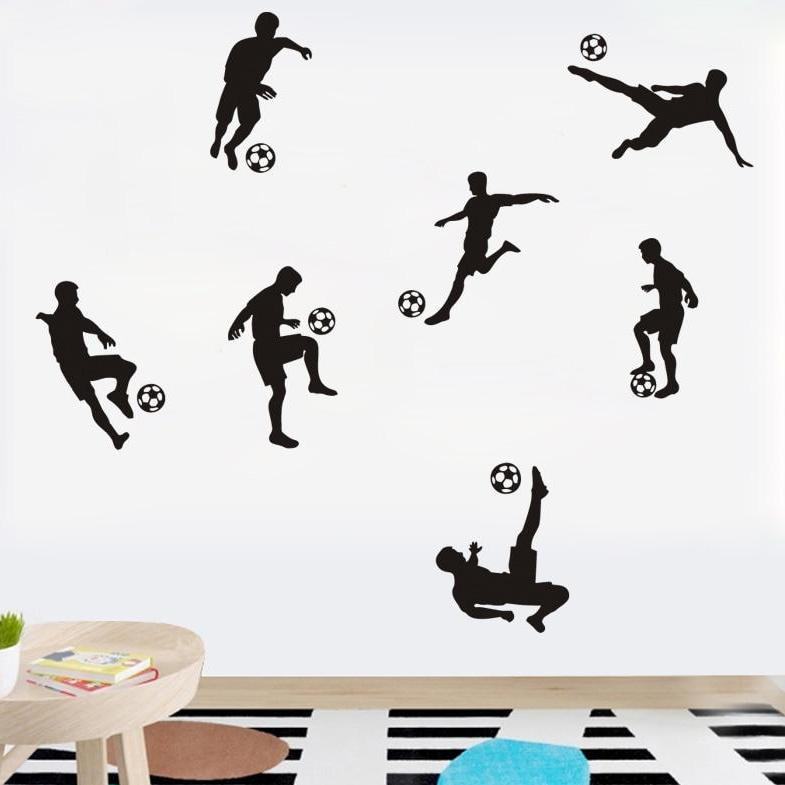 Soccer Figures Wall Stickers For Boy Room In 2020 Boys Wall