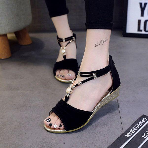 Women Beaded Flat Sandals T Strap Summer Beach Shoes Open Toe Wedges - US$18.64