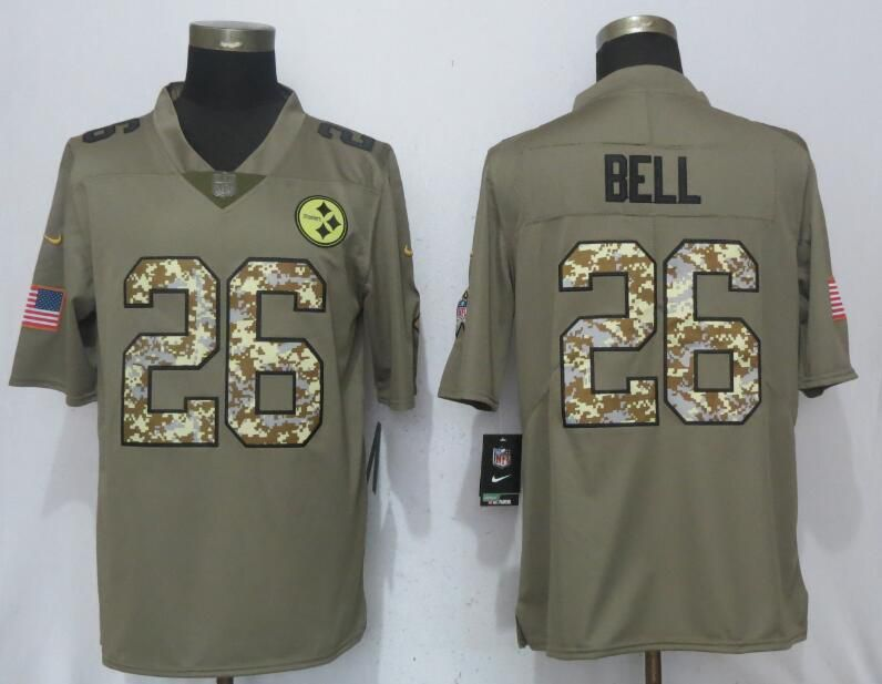 Men nike pittsburgh steelers 26 bell olive camo carson