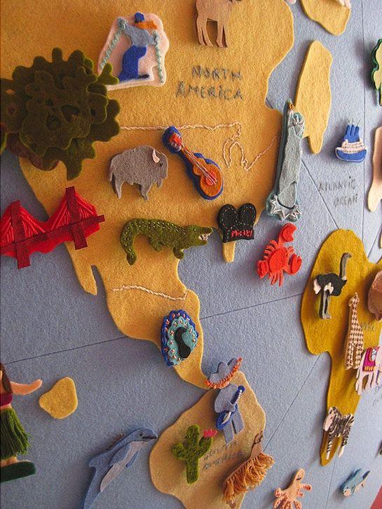 Mural mapa mundi hecho con fieltro kids pinterest - Mapa mundi mural ...