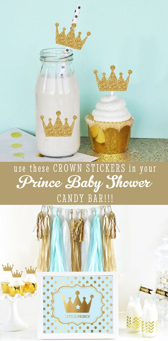 Nice Royal Prince Baby Shower Cupcake Toppers DIY Crown Straws Stickers   Litte  Prince Birthday Party Decor