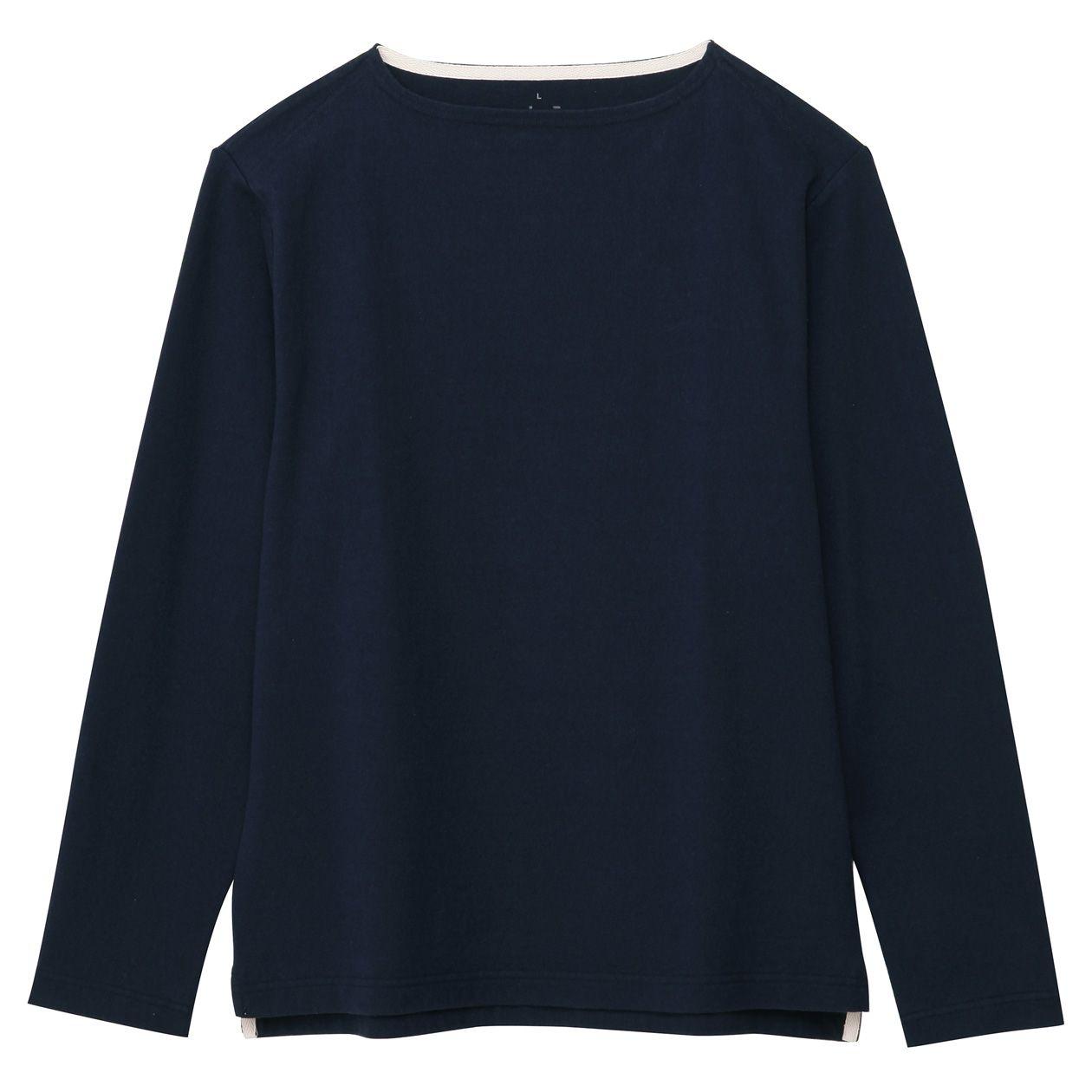 オーガニックコットン太番手長袖Tシャツ 紳士M・ダークネイビー | 無印良品ネット.