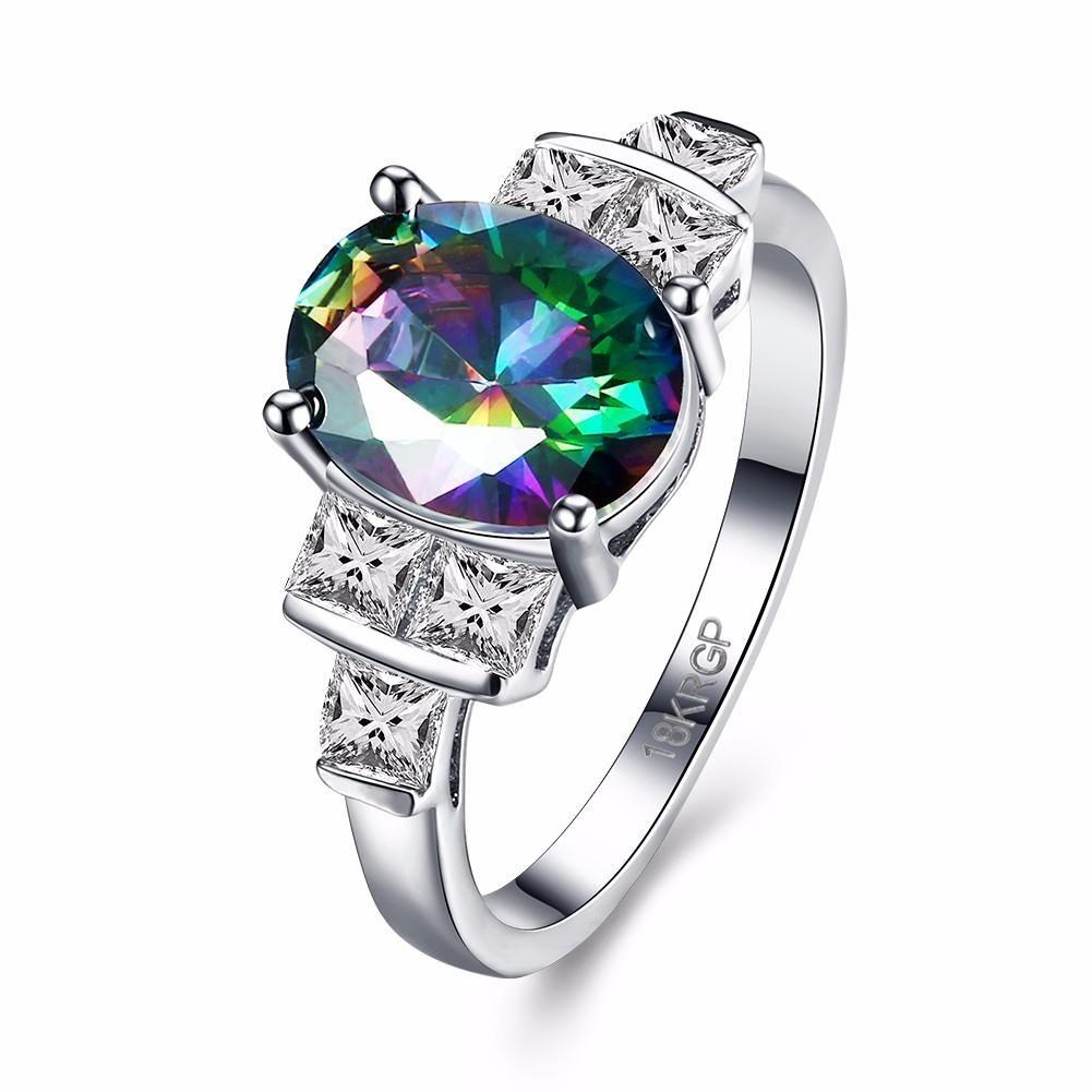 Inalis sweet ring platinum rainbow zircon square crystal