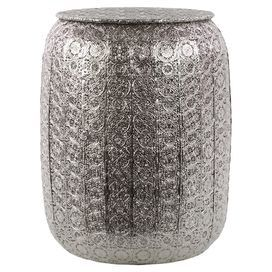 """Metal stool with a pierced lattice motif in silver.  Product: StoolConstruction Material: MetalColor: SilverDimensions: 18"""" H x 14"""" Diameter"""