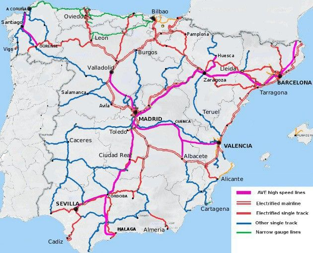 Railway Map Of Spain And Portugal Google Search Map Of Spain