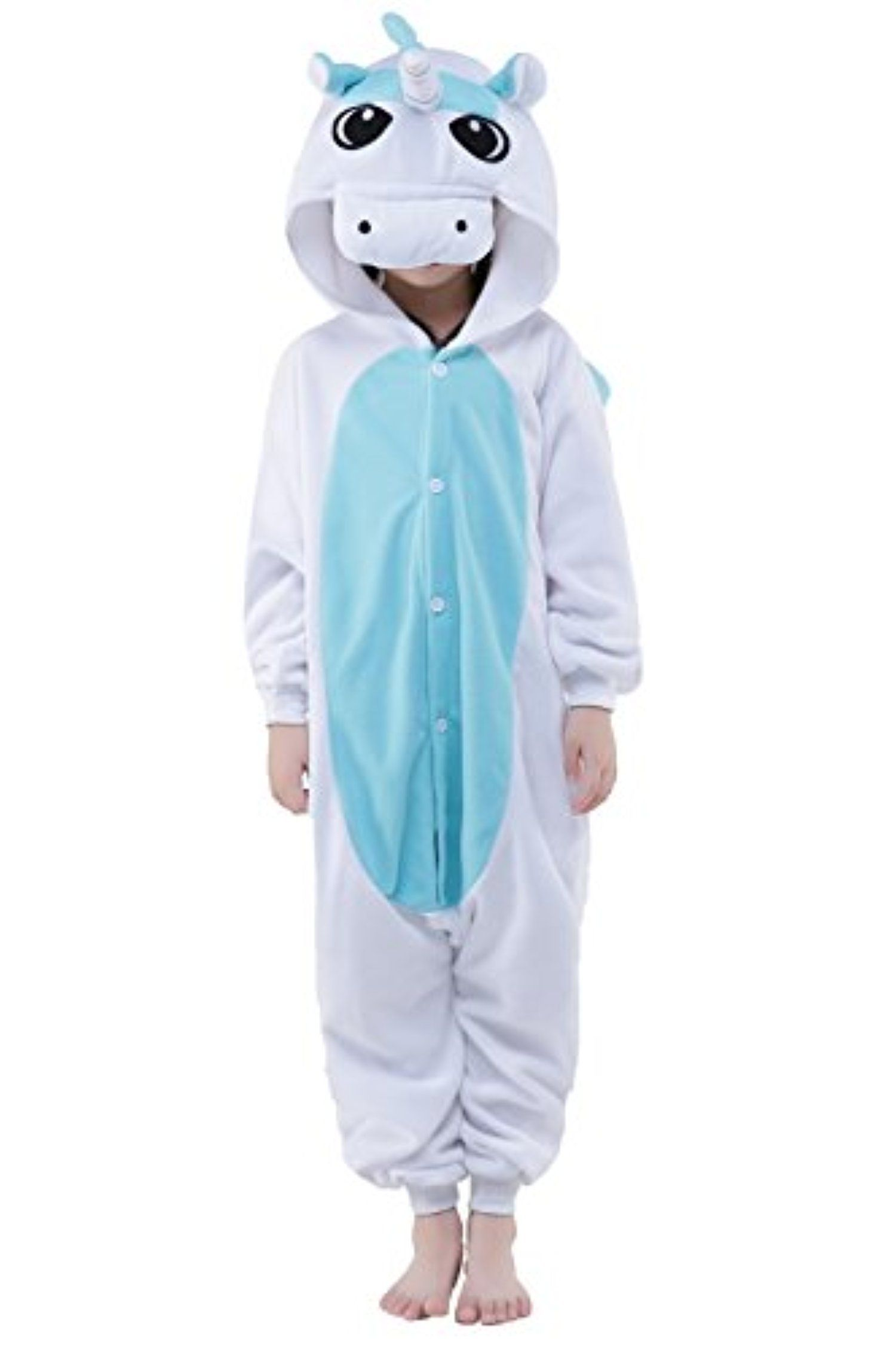 Newcosplay Children Unisex Pajamas Kids Animal Costume Cosplay Sleeping  Wear (95, Blue Unicorn)    Awesome Products Selected By Anna Churchill