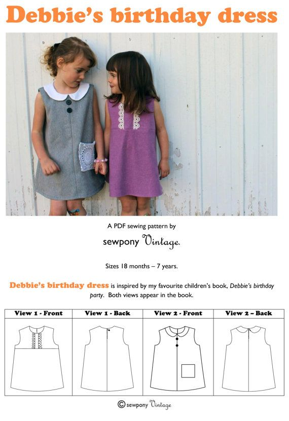 Debbie\'s birthday dress PDF sewing pattern | Patrones de costura ...