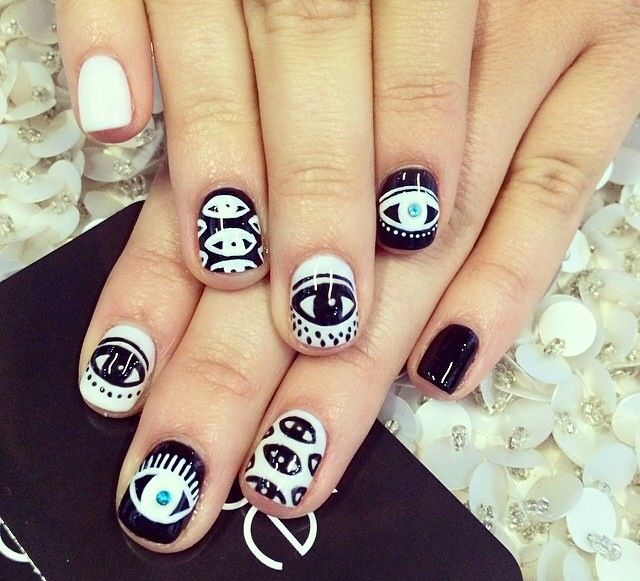 Black and white evil eye nail art - Another Evil Eye Nail Design Nails Pinterest Evil Eye Nails