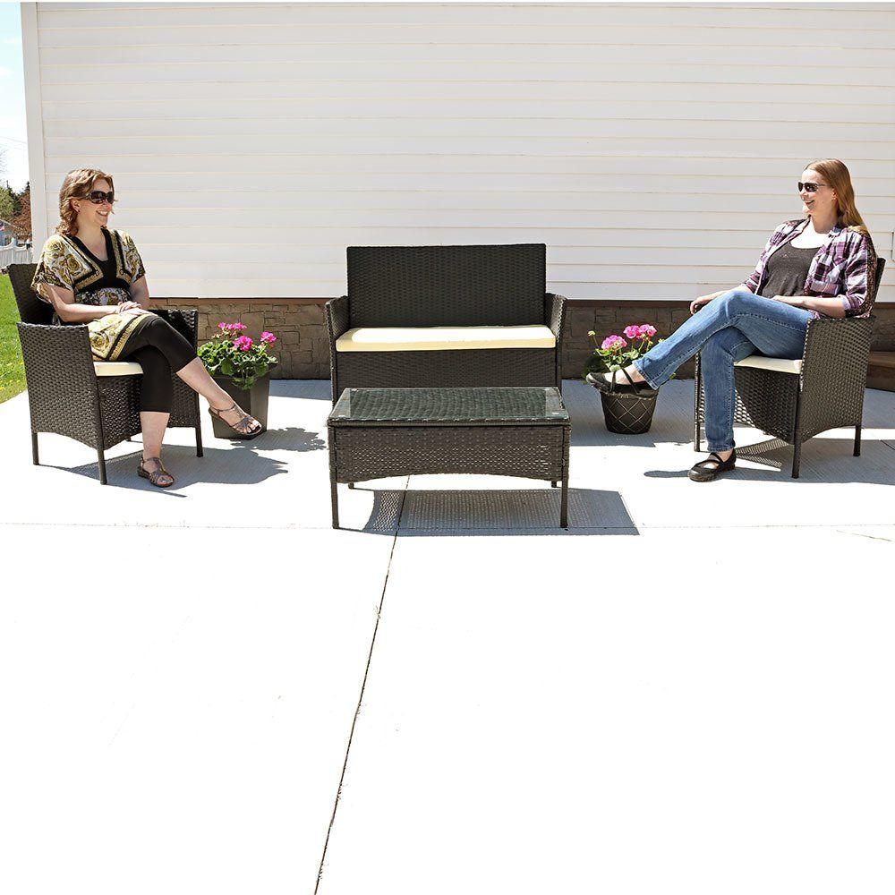 Sunnydaze Adelaide Patio Furniture Set 4Piece Outdoor ...