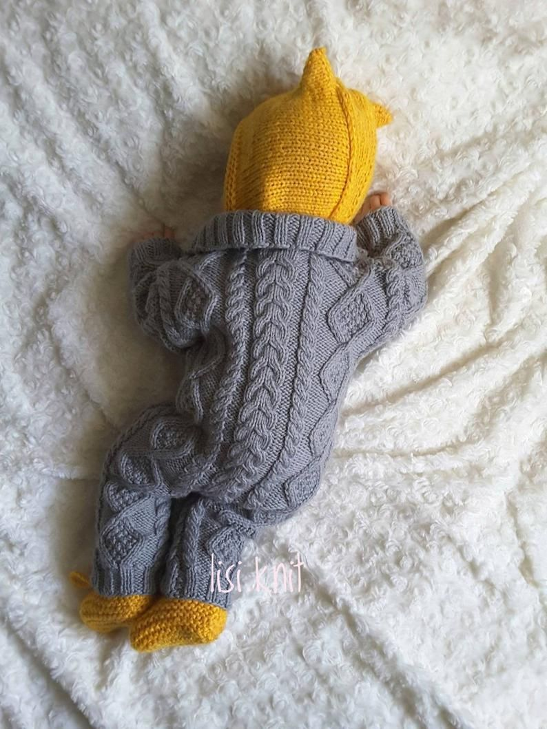 Baby knitted jumpsuit Knitted baby clothes Baby knitted romper Hand knit baby set  Baby boy knitted home coming outfit newborn knit outfits #strikkeopskrifterbaby