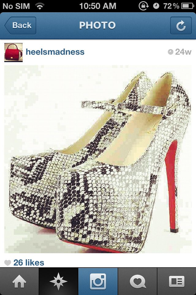 Snake print red bottom heels