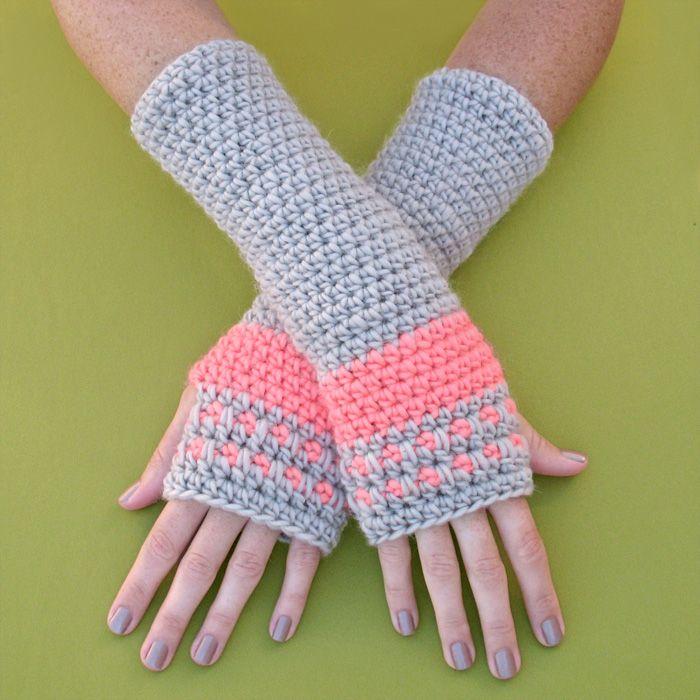 New Crochet Pattern: Peachy Arm Warmers | Gleeful Things | Yarnworks ...