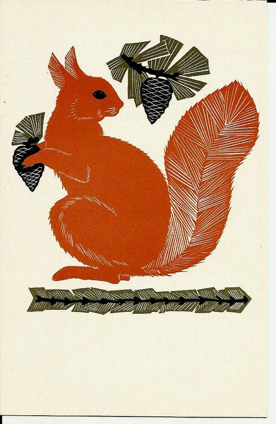 squirrel, vintage, forest, woodland, illustration, print, russian, postcard, USSR, soviet, 1972, printmaking, nature, autumn