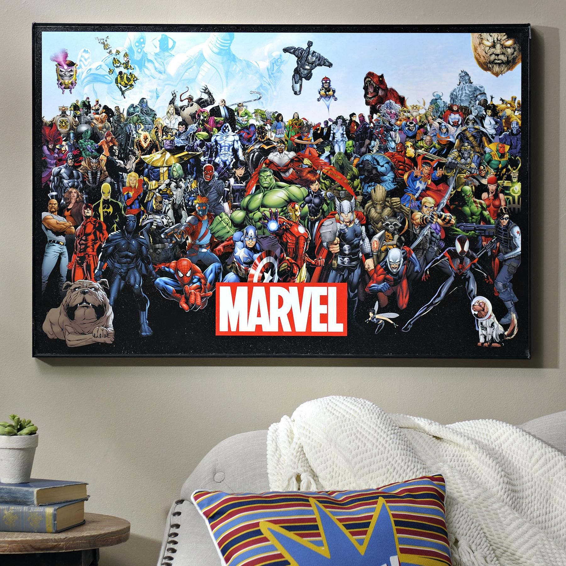 Marvel Lineup Framed Art Print Superhero Wall Art Marvel Decor Framed Art Prints
