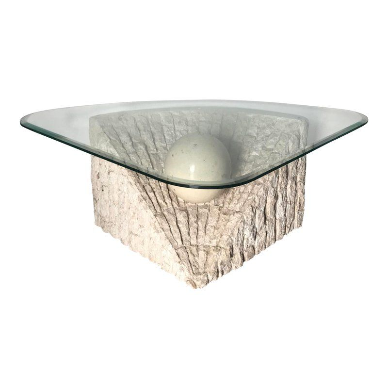 1980 S Organic Modern Tesselated Mactan Stone Glass Coffee Table Stone Coffee Table Glass Coffee Table Coffee Table