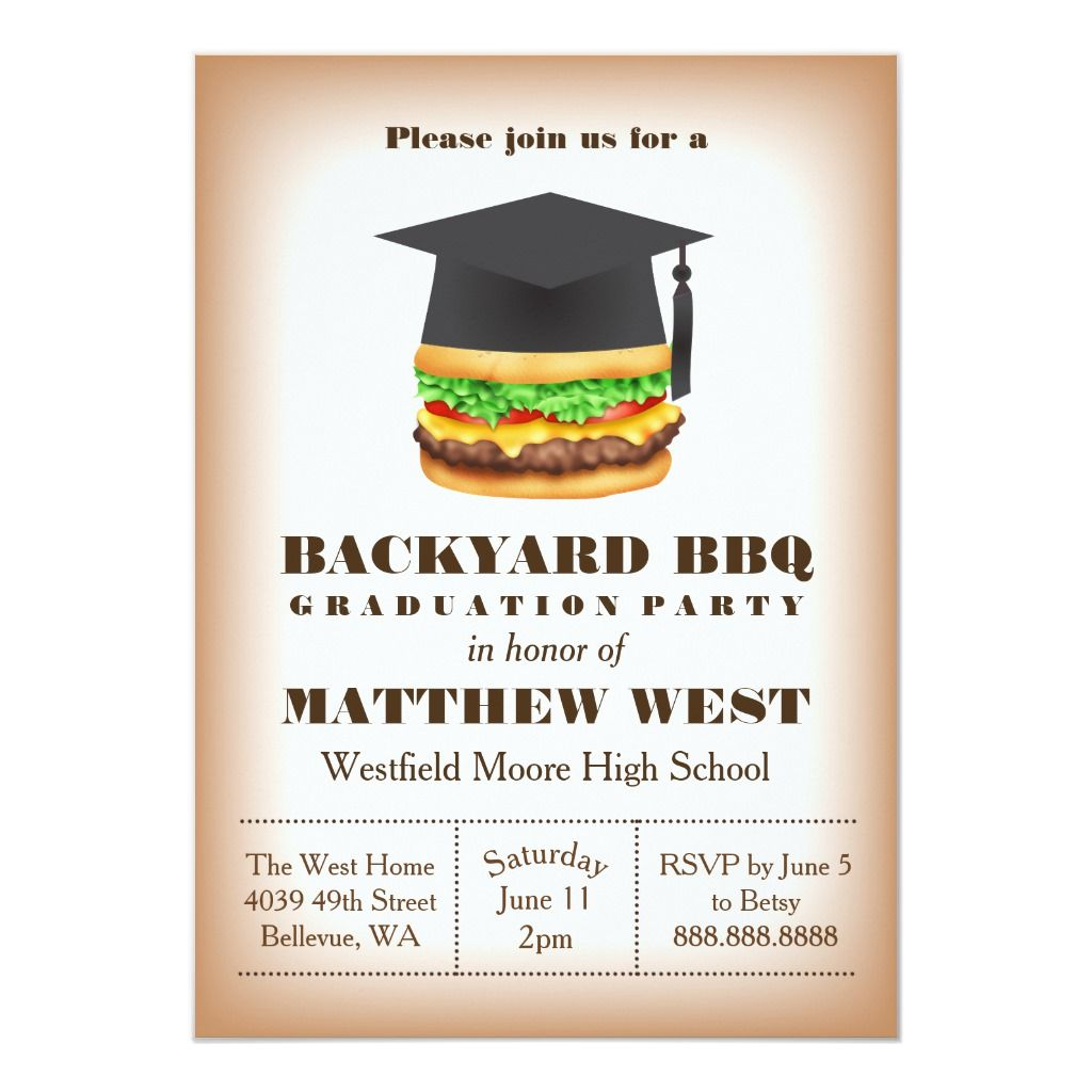 Grilling with Grad Announcement Backyard BBQ Graduation Invitation The Tassel Was Worth The Hassle Rustic Graduation Party Invitation