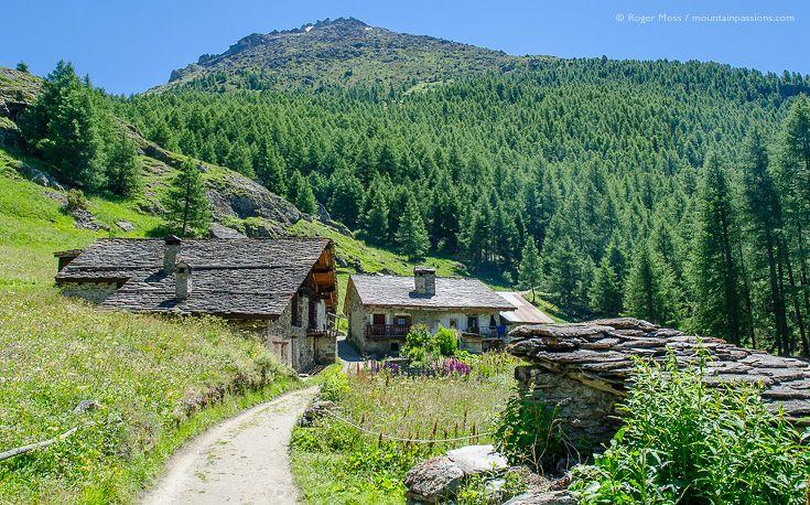 Mountain chalets in hamlet between Sainte-Foy Tarentaise and Le ...