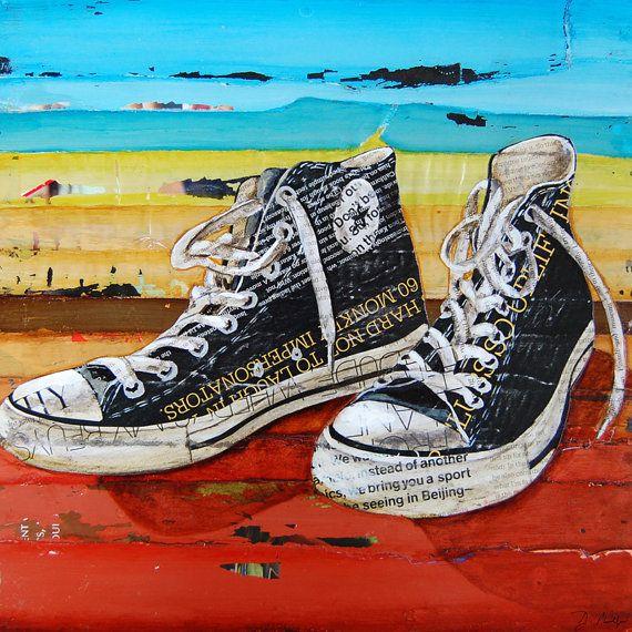 95b52f415d0 Vintage retro zapatos converse ART PRINT por dannyphillipsart. Converse  shoes retro vintage ART PRINT