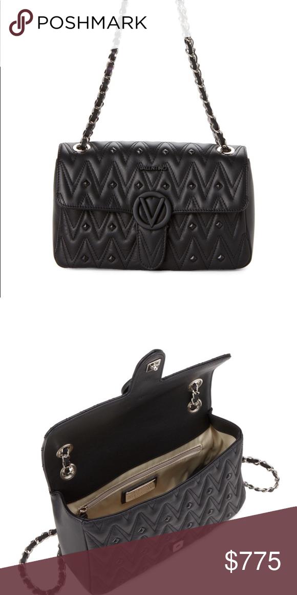 7432f3107896 VALENTINO💗Black Antoinette Chain Shoulder Bag Supple grained leather  exterior