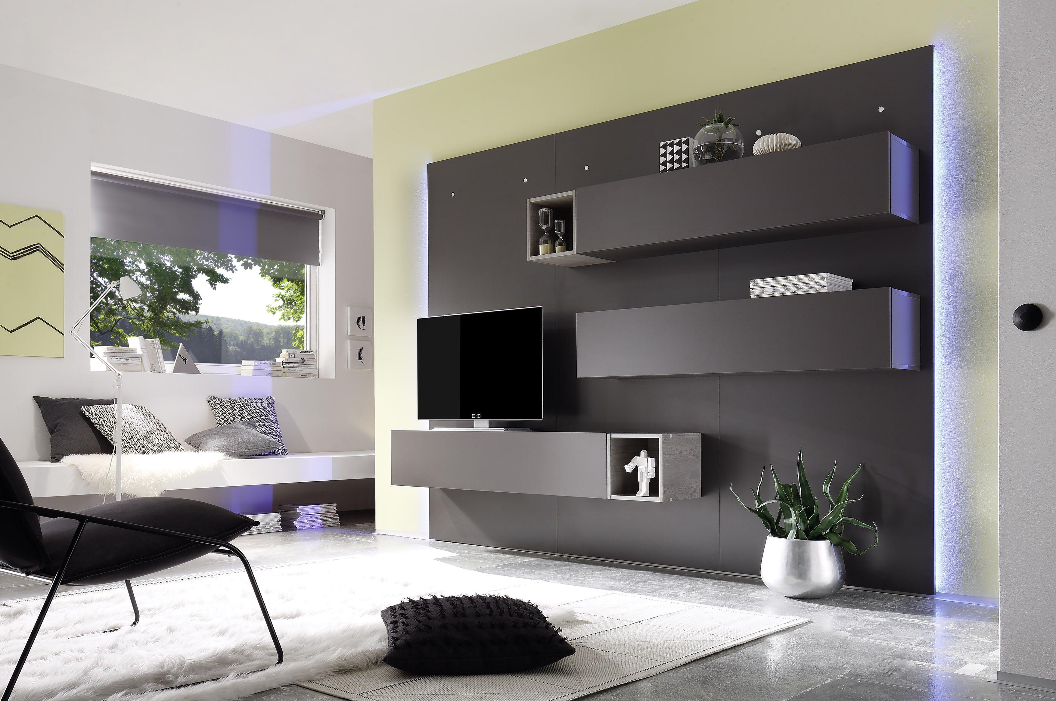 Wohnwand 2 CASINO II Dunkelgrau/Eiche Grau | Rund Um Das Eigene Haus |  Pinterest | Dunkelgrau, Eiche Und Grau
