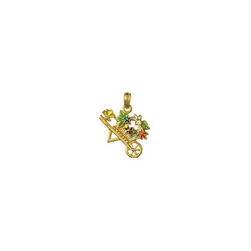 Amazon.com: 14k Gold Necklace Charm Pendant, Flower Cart With Multi-color Flowers: Million Charms: Jewelry