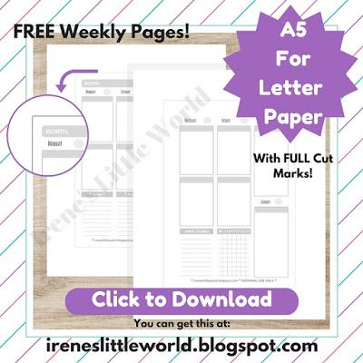 FREE A5 Undated Weekly Planner Pages ~ Ireneu0027s Little World - agenda download free