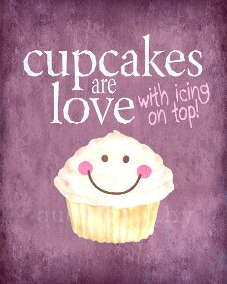 Cupcake Wall Art cupcakes are love - purple - photo print - happy kitchen decor