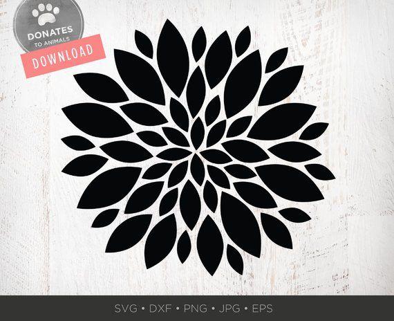 Mum Flower SVG | Abstract Flower Stencil SVG Files | Modern Daisy
