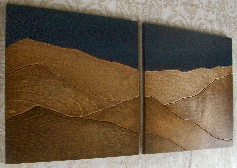 Mountains wood wall decor art two piece set 70 00 via etsy