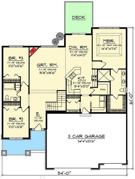 Plan 89988ah 3 Bed Craftsman Ranch With Open Concept Floor Plan
