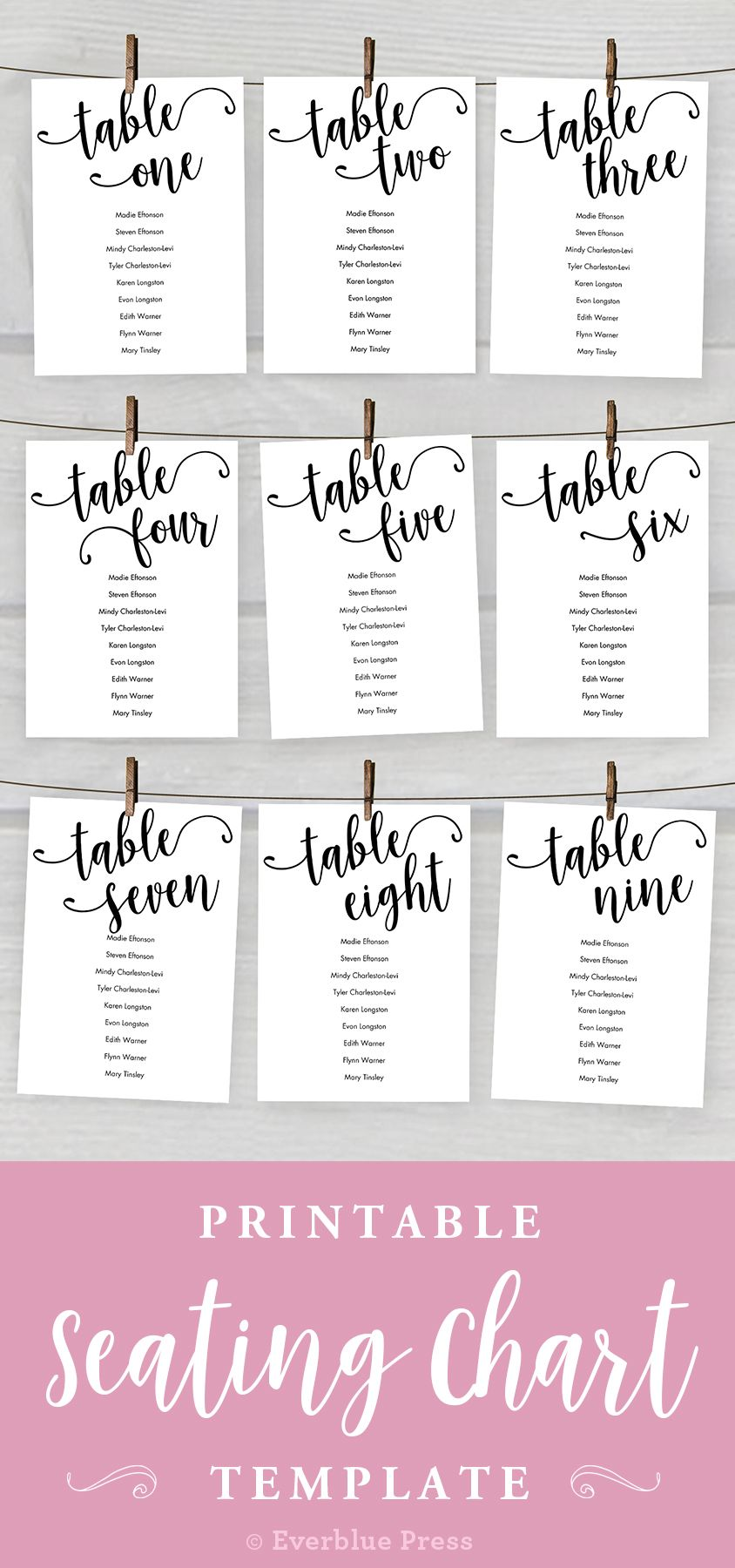 5x7 wedding seating chart cards printable  tables 1