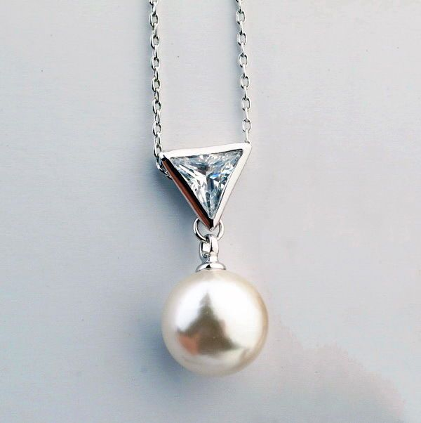 18k White Gold Filled Clear Crystal Triangle White Pearl Wedding Necklace N105