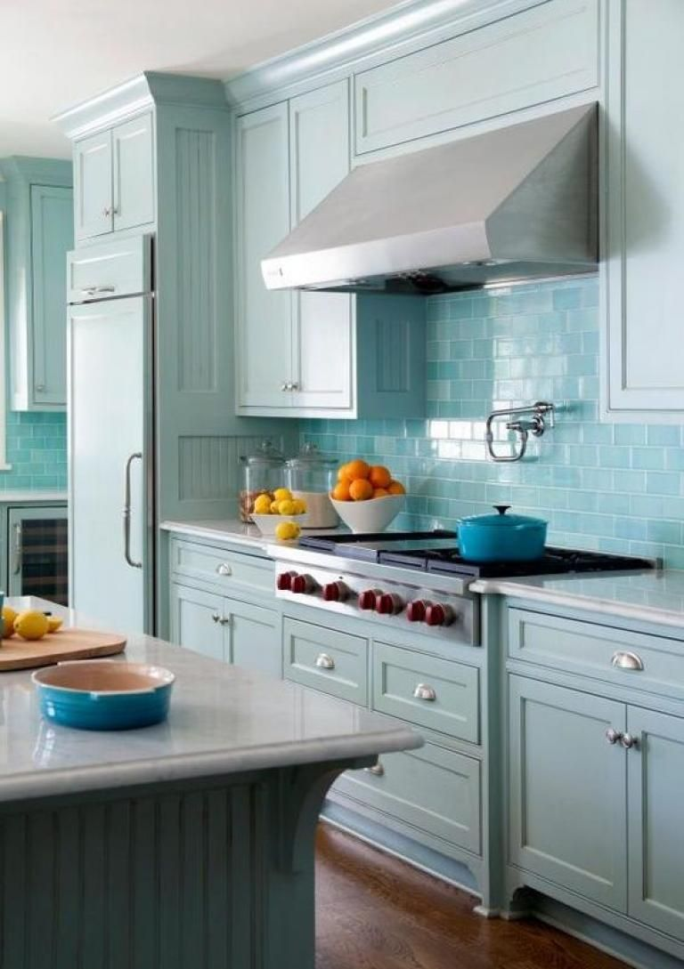 Inspiring Sea Gl Kitchen Backsplash Ideas | Blue kitchen ... on teal glass tile kitchen backsplash, teal kitchen paint color ideas, teal painted backsplash,