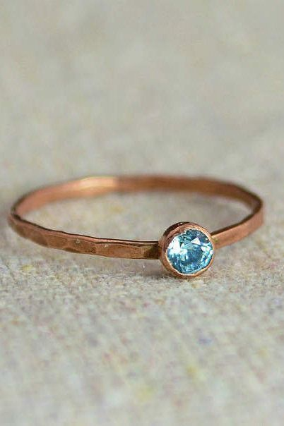 Tiffany 60% OFF! Delicate Aquamarine Ring (Marchs Mothers/Birthstone Ring) Minimal  Simple - Pure Copper Rustic Everyday Ring. Perfect for a flash of copper and color on the hand without being to much. - Daint #Jewelry #Tiffany #style #Accessories #shopping #styles #outfit #pretty #girl #girls #beauty #beautiful #me #cute #stylish #design #fashion #outfits #diy #design