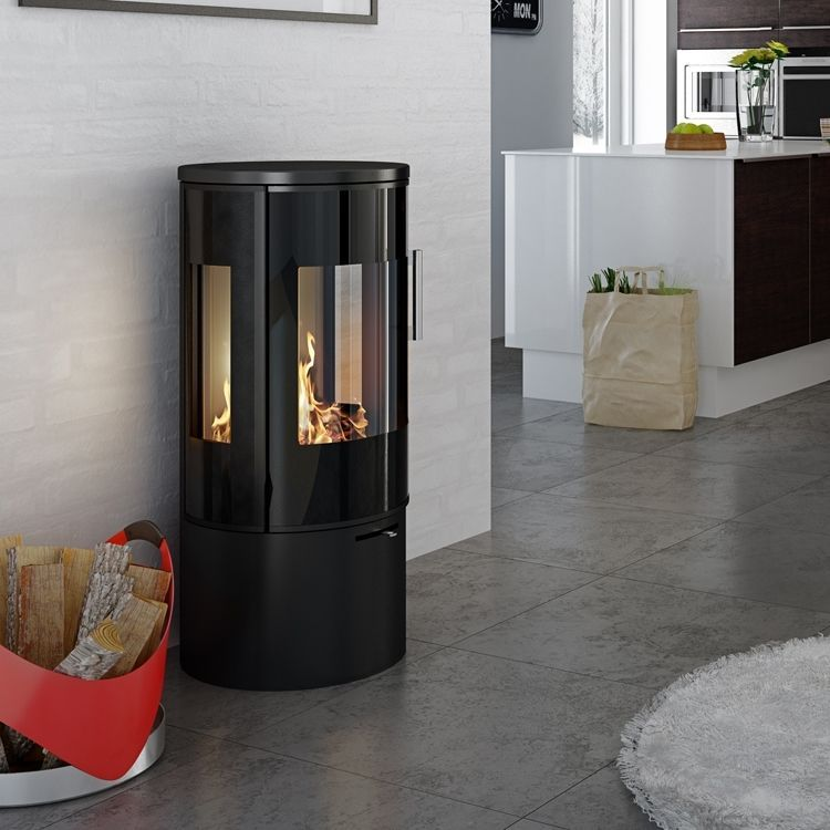 Simple Circular Stove With Glass Door Circular Door Freestandingfireplacewoodburningfire Freestanding Fireplace Glass Door Stove