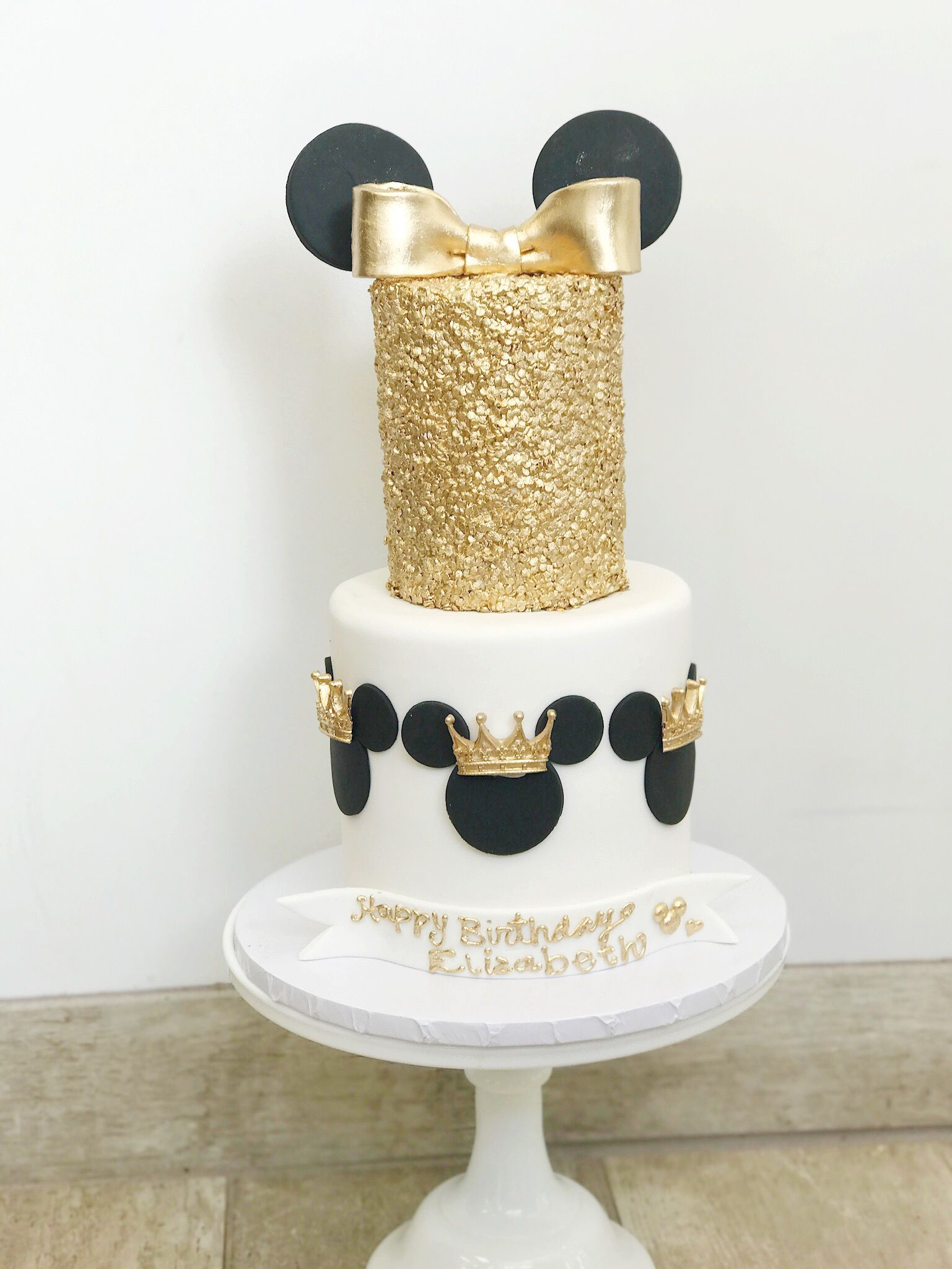 Minnie Mouse gold painted birthday cake with fondant crowns, fondant ...