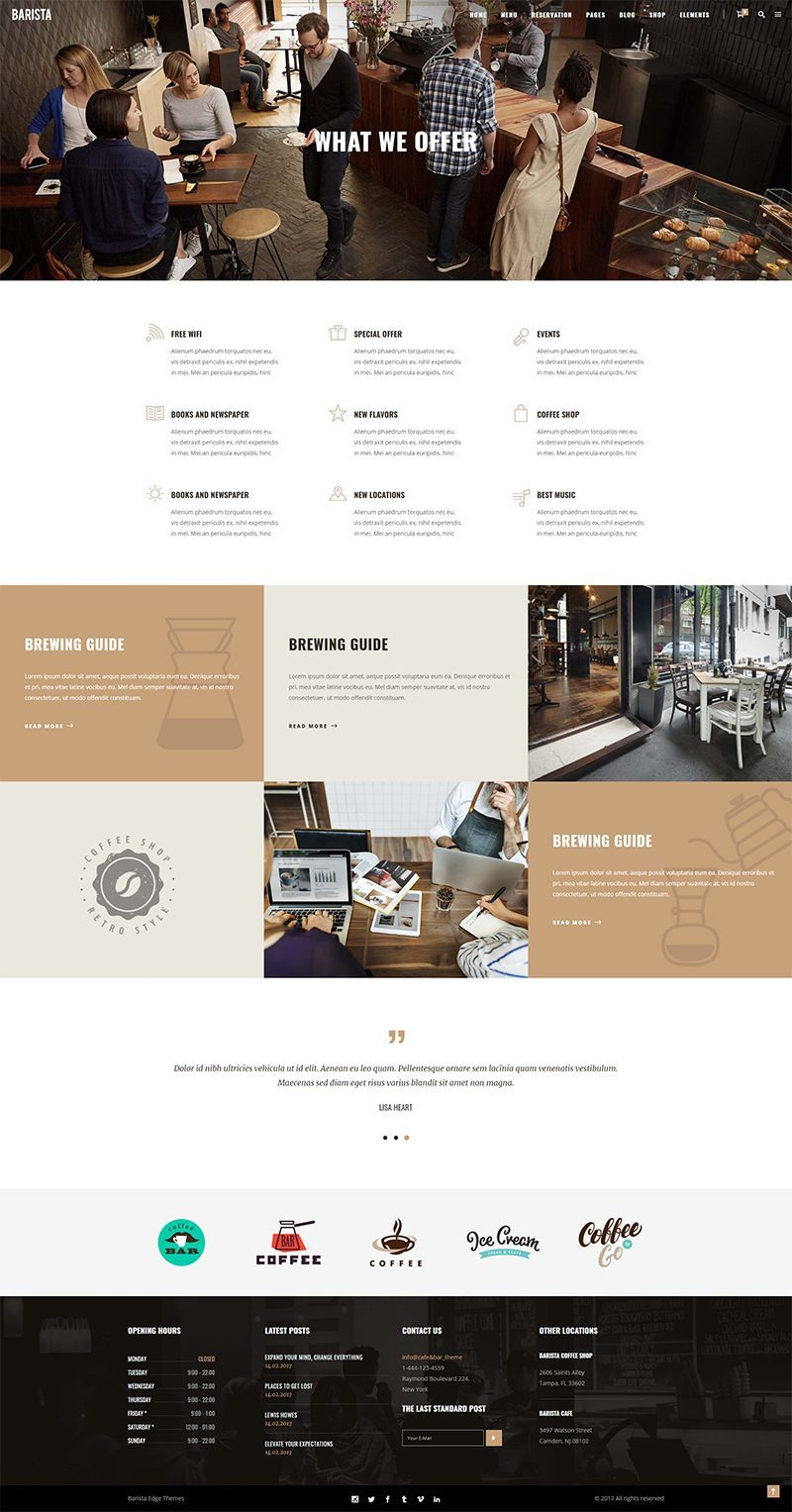 Barista Modern Theme For Cafes Coffee Shops And Bars Food Web Design Restaurant Wordpress Themes Coffee Shop Design
